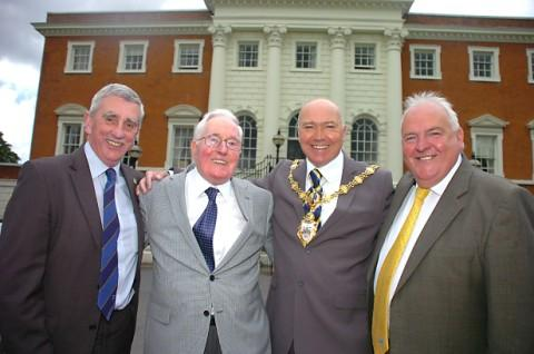 From left, council leader Terry O'Neill, former head teacher Gerard Bannon, Mayor of Warrington Steve Wright and deputy leader Mike Hannon