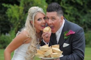 Bride eats all the pies on her wedding day